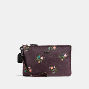 COACH Coach Small Wristlet With Cross Stitch Floral Print - DARK GUNMETAL/OXBLOOD CROSS STITCH FLOR - STYLE