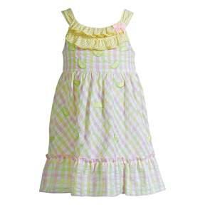 Youngland Baby Girl Plaid Lemon Seersucker Dress