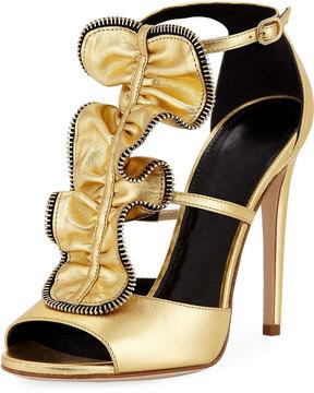 Jerome C. Rousseau Etienne High Ruffle Metallic Sandal, Gold