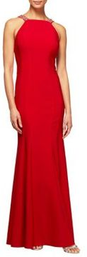 Alex Evenings Halter Fit-And-Flare Gown