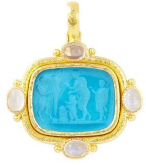 Elizabeth Locke Pan Picnic Antique 19k Gold Intaglio Pendant, Blue