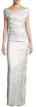 Rickie Freeman For Teri Jon Off-the-Shoulder Ruched Jacquard Column Gown, Champagne