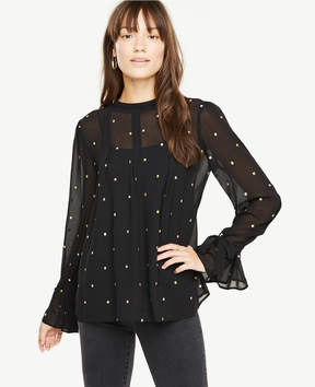 Ann Taylor Sheer Clip Dot Blouse