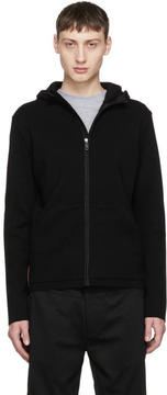 Prada Black Wool and Nylon Details Zip Hoodie