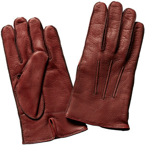 Portolano Men's Red Leather & Cashmere-Blend Gloves