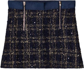 Mayoral Navy Tweed Zip Skirt