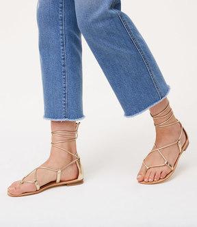 LOFT Metallic Lace Up Sandals