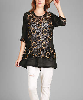 Lily Black & Gold Floral-Overlay Crewneck Tunic - Women