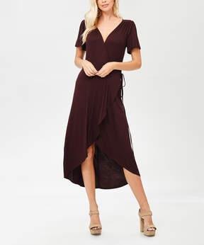 Bellino Brown Tie-Waist Wrap Dress - Women