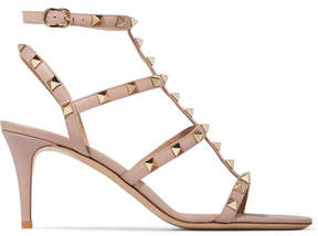 Valentino Rockstud Leather Sandals - Baby pink