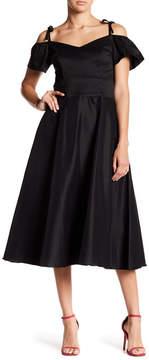 Betsey Johnson Cold Shoulder Flutter Sleeve Tea Length Dress