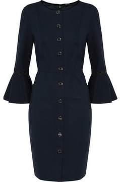 Elie Tahari Velvet-Trimmed Cady Mini Dress