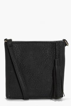 boohoo Zoe Square Structured Tassel Cross Body Bag