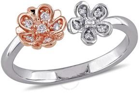 Laura Ashley 1 /10 CT TW 2-Tone Diamond Flower Ring - Size 8