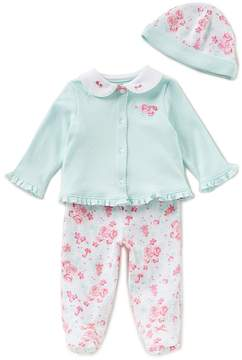 Little Me Baby Girls Newborn-9 Months Button-Down Cardigan, Floral Pants, & Beanie Hat 3-Piece Set