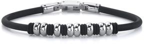 Ice Stainless Steel Bead and Rubber Ring Bracelet for Men