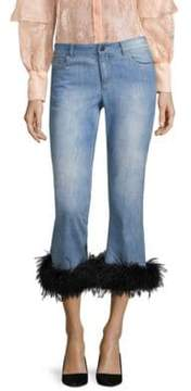 Alice + Olivia Tasha Cropped Feather Hem Jeans
