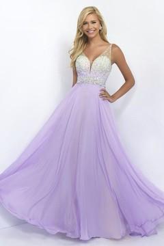 Blush Lingerie Embellished V-Neck Chiffon A-line Dress 11087