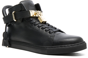 Buscemi 100MM High Top Pebbled Leather Sneakers in Black.