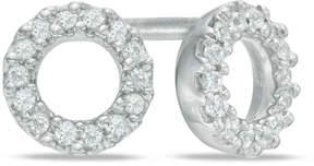 Zales 1/10 CT. T.W. Diamond Circle Stud Earrings in Sterling Silver