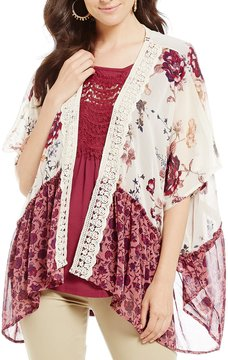 Jolt Twin Printed Crochet Trim Kimono