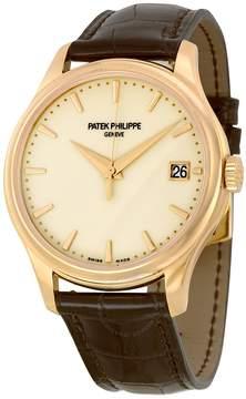 Patek Philippe Calatrava Mechanical Ivory Dial Leather Men's Watch -001
