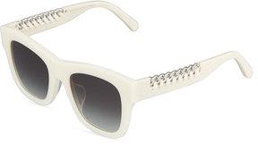 Stella McCartney Square Plastic Sunglasses w/ Chain Arms, White