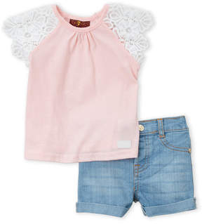 7 For All Mankind Infant Girls) Two-Piece Pink Raglan Tee & Denim Shorts Set