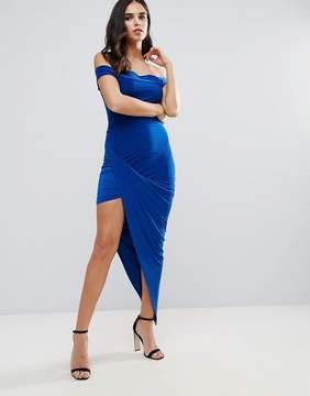 Club L Bardot Slinky Dress With Asymmetric Hem