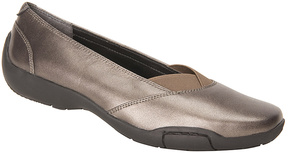 Ros Hommerson Pewter Metallic Nappa Cady Leather Flat - Women