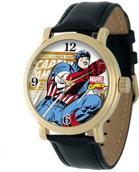 Marvel Vintage Captain America Mens Black Leather Strap Watch