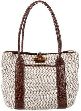 Eric Javits Embossed Leather-Trimmed Bag