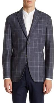 Zanetti Grey Windowpane Two Button Notch Lapel Sport Coat