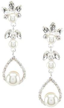 Cezanne Faux-Pearl & Rhinestone Teardrop Halo Earrings