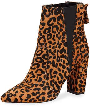 Neiman Marcus Allure Chunky-Heel Bootie, Leopard