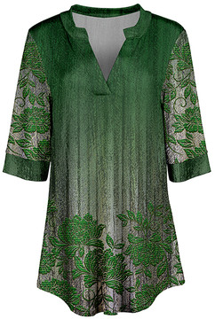 Azalea Green & White Floral V-Neck Tunic - Women & Plus
