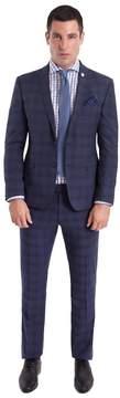 Nick Graham Men's Slim-Fit Plaid Unhemmed Suit