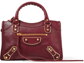 Balenciaga - Metallic Edge City Mini Textured-leather Tote - Burgundy