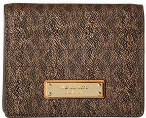 MICHAEL Michael Kors Money Pieces Flap Card Holder Wallet - BROWN - STYLE