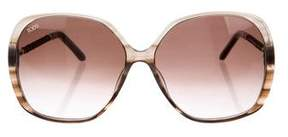 Tod's Square Leather Trimmed Sunglasses