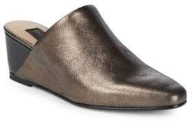 Donna Karan Metallic Leather Mules