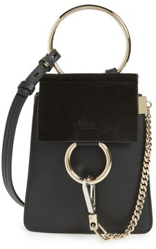 Chloé Faye Small Suede & Leather Bracelet Bag - Black