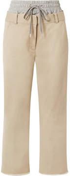 Alexander Wang Layered Cotton-gabardine And Stretch-jersey Straight-leg Pants - Beige