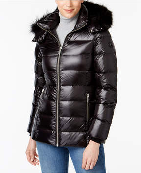 Andrew Marc Fox-Fur-Trim Hooded Puffer Coat