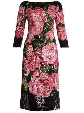 DOLCE & GABBANA Rose sequin-embellished crepe midi dress