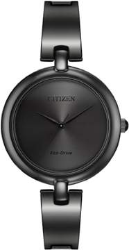 Citizen Women's EM0225-84 Eco-Drive Silhouette Bangle Black Stainless Watch