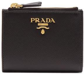 Prada Compact Bi Fold Saffiano Leather Wallet - Womens - Black