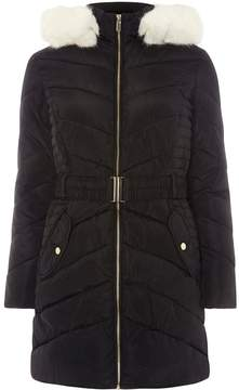 Dorothy Perkins Black Luxe Belted Padded Coat