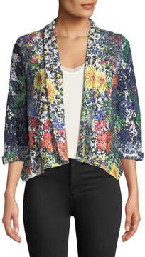 Alberto Makali Floral-Print Crochet-Lace Jacket