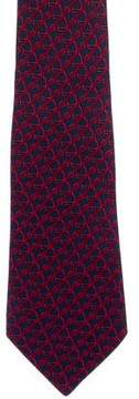 Hermes Buckle Printed Silk Tie